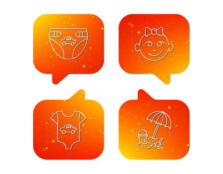 Newborn clothes, diapers and baby girl icons. Beach games linear sign. Orange Speech bubbles with icons set. Soft color gradient chat symbols. Vector