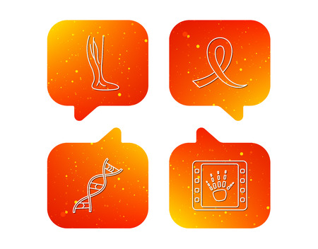 Phlebology, DNA and X-ray icons. Oncology awareness ribbon linear sign. Orange Speech bubbles with icons set. Soft color gradient chat symbols. Vector