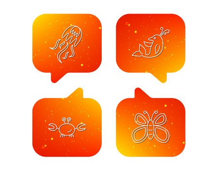 Jellyfish, crab and dolphin icons. Butterfly linear sign. Orange Speech bubbles with icons set. Soft color gradient chat symbols. Vector