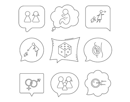 Pregnancy, pediatrics and family planning icons. Under supervision, unattended and baby child linear signs. Dice, male and female icons. Linear Speech bubbles with icons set. Comic chat balloon