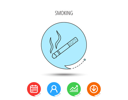 Smoking allowed icon. Yes smoke sign. Calendar, User and Business Chart, Download arrow icons. Speech bubbles with flat signs. Vector