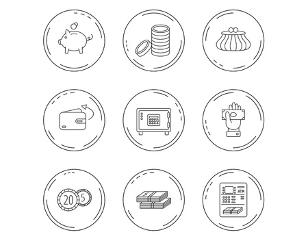 Piggy bank, cash money and wallet icons. Safe box, send money and dollar usd linear signs. Give money, coins and ATM icons. Linear Circles web buttons with icons. Vector