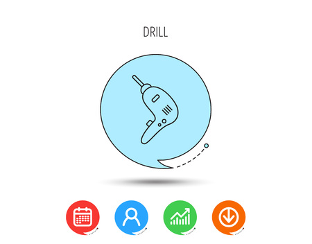 Drill tool icon. Electric jack-hammer sign. Calendar, User and Business Chart, Download arrow icons. Speech bubbles with flat signs. Vector Stock Illustratie