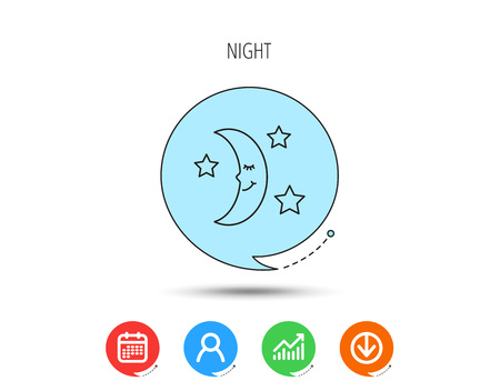Night or sleep icon. Moon and stars sign. Crescent astronomy symbol. Calendar, User and Business Chart, Download arrow icons. Speech bubbles with flat signs. Vector Vettoriali