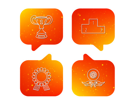 Winner cup, podium and award medal icons. Race symbol, wheel on fire linear signs. Orange Speech bubbles with icons set. Soft color gradient chat symbols. Vector Illustration