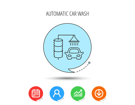 Automatic carwash icon. Cleaning station sign. Calendar, User and Business Chart, Download arrow icons. Speech bubbles with flat signs. Vector