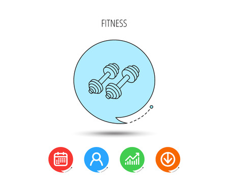 Dumbbell icon. Fitness sport or gym sign. Bodybuilding workout equipment symbol. Calendar, User and Business Chart, Download arrow icons. Speech bubbles with flat signs. Vector