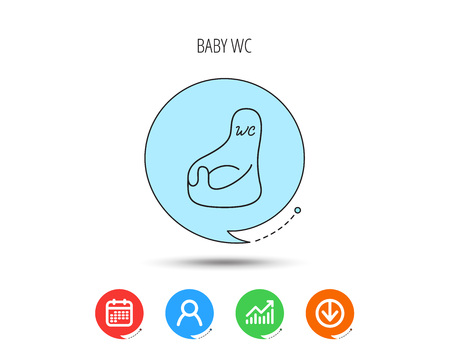 Baby wc icon. Child toilet sign. Washroom or lavatory symbol. Calendar, User and Business Chart, Download arrow icons. Speech bubbles with flat signs. Vector