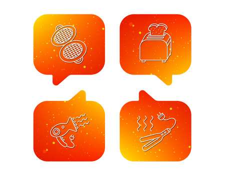 Curling iron, hair-dryer and toaster icons. Waffle-iron linear sign. Orange Speech bubbles with icons set. Soft color gradient chat symbols. Vector