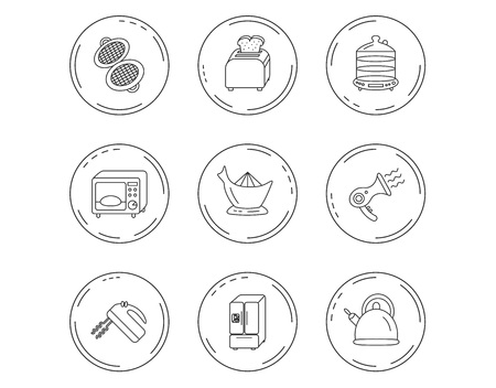 Microwave oven, teapot and blender icons. Refrigerator fridge, juicer and toaster linear signs. Hair dryer, steamer and waffle-iron icons. Linear Circles web buttons with icons. Vector