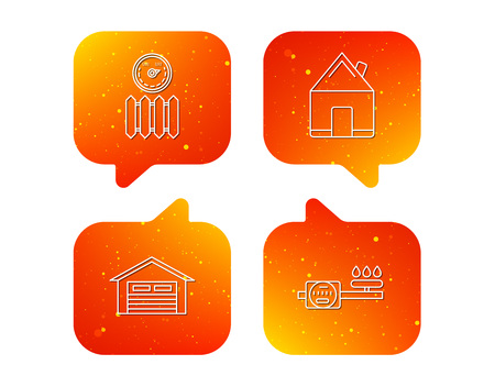 Real estate, garage and heat radiator icons. Gas counter linear sign. Orange Speech bubbles with icons set. Soft color gradient chat symbols. Vector Illusztráció