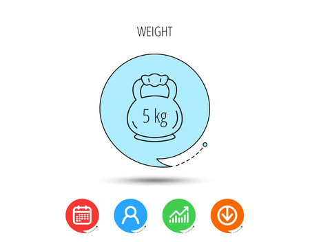 Weight icon. Weightlifting barbell sign. Power fitness symbol. Calendar, User and Business Chart, Download arrow icons. Speech bubbles with flat signs. Vector Illustration
