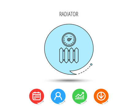 Radiator with regulator icon. Heater sign. Maximum temperature. Calendar, User and Business Chart, Download arrow icons. Speech bubbles with flat signs. Vector