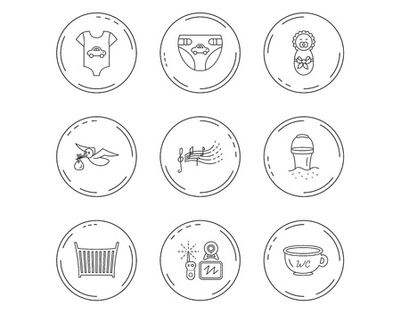 Diapers, newborn baby and clothes icons. Kids songs, beach bucket and bed linear signs. Video monitoring, wc flat line icons. Linear Circles web buttons with icons. Vector