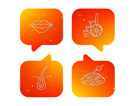 Trichology, surgical lamp and wheelchair icons. Lips linear sign. Orange Speech bubbles with icons set. Soft color gradient chat symbols. Vector Vectores
