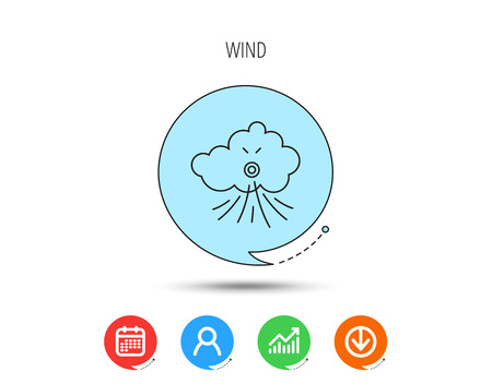 Wind icon. Cloud with storm sign. Strong wind or tempest symbol. Calendar, User and Business Chart, Download arrow icons. Speech bubbles with flat signs. Vector