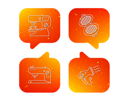Coffee maker, sewing machine and hairdryer icons. Waffle-iron linear sign. Orange Speech bubbles with icons set. Soft color gradient chat symbols. Vector