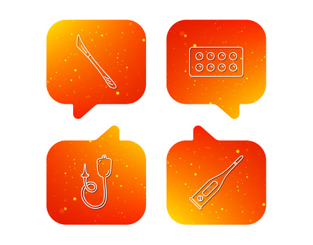 Electronic thermometer, tablets and scalpel icons. Enema linear sign. Orange Speech bubbles with icons set. Soft color gradient chat symbols. Vector