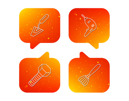 Spatula tool, drill and brush icons. Bolt linear sign. Orange Speech bubbles with icons set. Soft color gradient chat symbols. Vector Illusztráció
