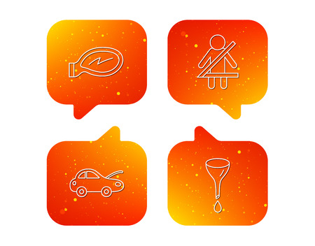 Car mirror repair, oil change and seat belt icons. Fasten seat belt linear sign. Orange Speech bubbles with icons set. Soft color gradient chat symbols.