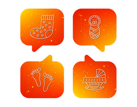 Footprint, cradle and newborn baby icons. Socks linear sign. Orange Speech bubbles with icons set. Soft color gradient chat symbols.