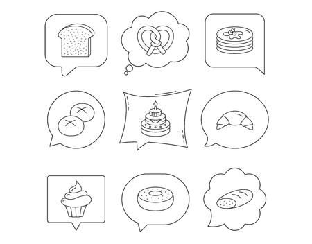 Rogalik, precel i chleb ikony. Cupcake, cake i sweet donut liniowe znaki. Naleśniki, tosty i bułki płaskiej linii ikony. Dymki liniowe z zestawem ikon. Komiksowy dymek na czacie.