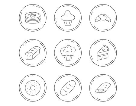 Croissant, cake and bread icons. Muffin, brioche and sweet donut linear signs. Pancakes with syrup flat line icons. Linear Circles web buttons with icons.