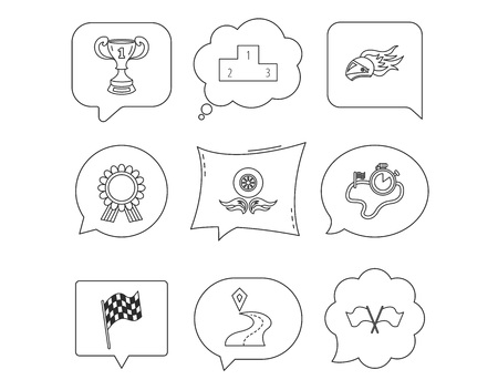 Winner cup and podium, award medal icons. Race flag, motorcycle helmet and timer linear signs. Destination pointer flat line icons. Linear Speech bubbles with icons set. Comic chat balloon. Illustration
