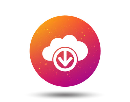 Download from cloud icon. Data storage technology symbol. Circle button with Soft color gradient background. Vector Ilustrace