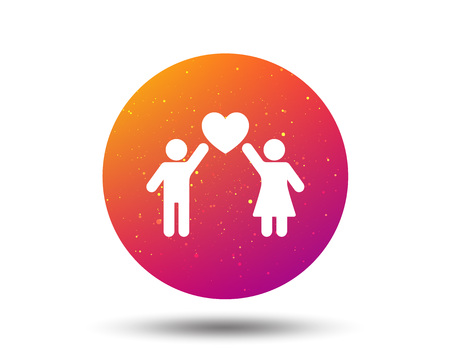 Couple love icon. Traditional young family symbol. Circle button with Soft color gradient background. Vector