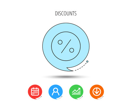 Discount percent icon. Sale sign. Special offer symbol. Calendar, User and Business Chart, Download arrow icons. Speech bubbles with flat signs.