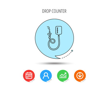 Drop counter icon. Medical procedure sign. Calendar, User and Business Chart, Download arrow icons. Speech bubbles with flat signs.