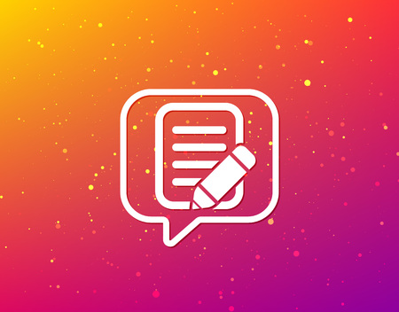 Edit icon. Pencil for drawing symbol. Soft color gradient background. Speech bubble with flat icon. Vector