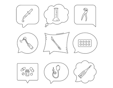 Thermometer, pills and dental pliers icons. Tablets, drilling tool and beaker linear signs. Enema, scalpel and pipette drop flat line icons. Linear Speech bubbles with icons set. Comic chat balloon Illustration