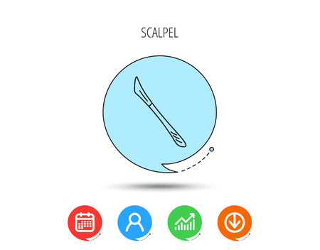 Scalpel icon. Surgeon tool sign. Calendar, User and Business Chart, Download arrow icons. Speech bubbles with flat signs. Illustration