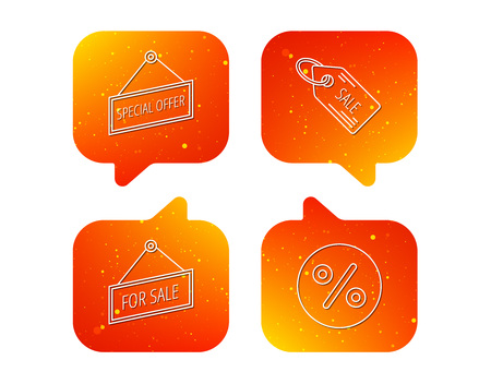 Special offer, discounts and sale coupon icons. For sale linear sign. Orange Speech bubbles with icons set. Soft color gradient chat symbols.