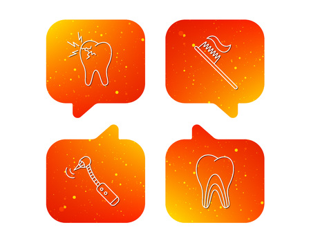Toothache, drilling tool and toothbrush icons. Dentinal tubules linear sign. Orange Speech bubbles with icons set. Soft color gradient chat symbols.