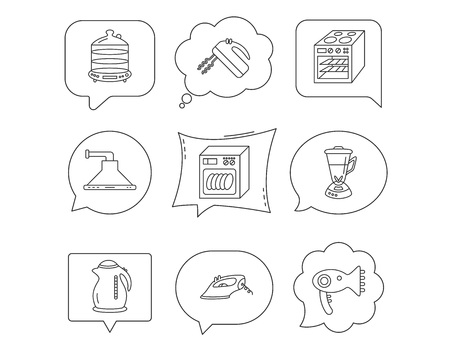 Dishwasher, kettle and mixer icons. Oven, steamer and iron linear signs. Hair dryer, blender and kitchen hood icons. Linear Speech bubbles with icons set. Comic chat balloon.