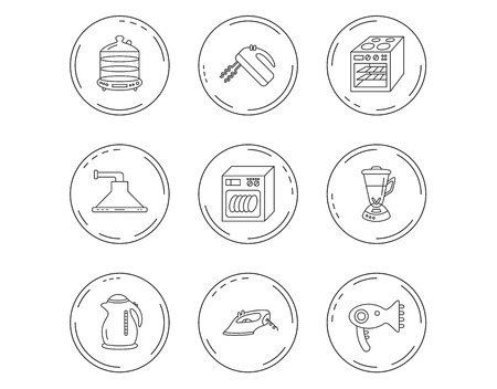 Dishwasher, kettle and mixer icons. Oven, steamer and iron linear signs. Hair dryer, blender and kitchen hood icons. Linear Circles web buttons with icons.