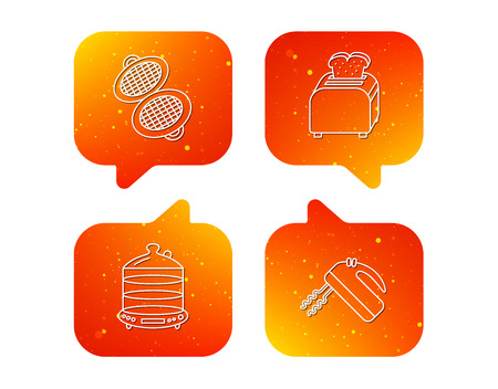 Waffle-iron, toaster and blender icons. Steamer linear sign. Orange Speech bubbles with icons set. Soft color gradient chat symbols.