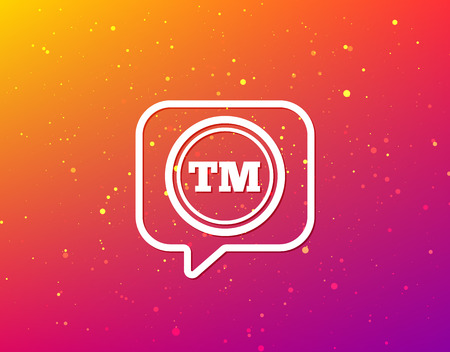 Registered TM trademark icon. Intellectual work protection symbol. Soft color gradient background. Speech bubble with flat icon. Vector Illustration