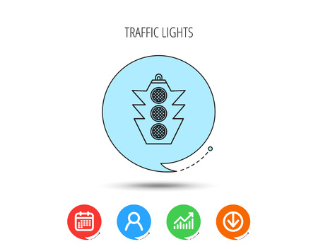 Traffic light icon. Safety direction regulate sign. Calendar, User and Business Chart, Download arrow icons. Speech bubbles with flat signs. Vettoriali