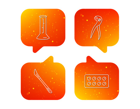 Lab beaker, tablets and dental pliers icons. Scalpel linear sign. Orange Speech bubbles with icons set. Soft color gradient chat symbols. Illustration
