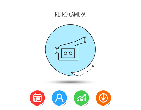 Video camera icon. Retro cinema sign. Calendar, User and Business Chart, Download arrow icons. Speech bubbles with flat signs. Vettoriali