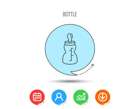 Baby feeding bottle icon. Drink glass with pacifier sign. Child food symbol. Calendar, User and Business Chart, Download arrow icons. Speech bubbles with flat signs. Vector