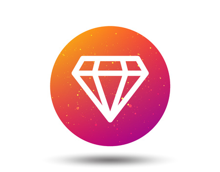 Diamond icon. Jewelry gem symbol. Brilliant jewel sign. Circle button with Soft color gradient background. Vector 일러스트