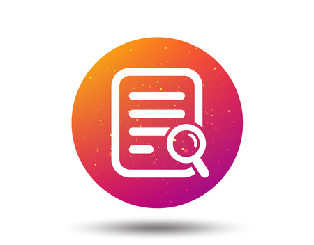 File search icon. Document page with magnifier tool symbol. Circle button with Soft color gradient background. Vector 일러스트