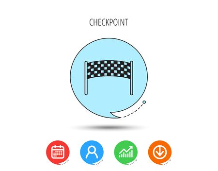 Finishing checkpoint icon. Marathon banner sign. Calendar, User and Business Chart, Download arrow icons. Speech bubbles with flat signs. Vector