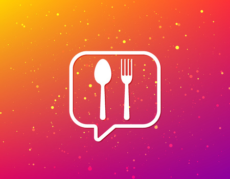 Food icons. Fork and spoon signs. Cutlery symbol. Soft color gradient background. Speech bubble with flat icon. Vector