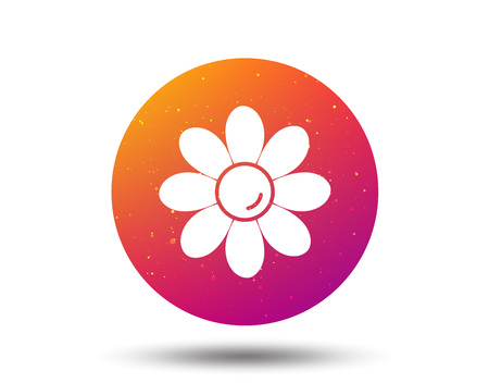 Flower icon. Florist plant with petals symbol. Circle button with Soft color gradient background. Vector 일러스트
